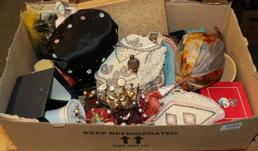 Lot 1094 - Group of collectables including hat pins and boxes, bead, sequin and silk evening purses, two china