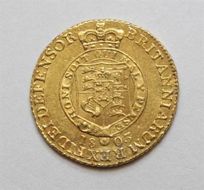 Lot 19 - George III (1760-1820), Half Guinea, 1803, sixth laureate head right, rev. shield in garter,...