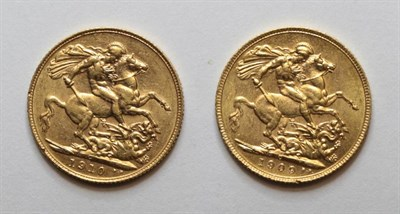 Lot 35 - Edward VII (1901-1910), Sovereigns (2), 1909C and 1910C (Canada), (S.3970). The first about...