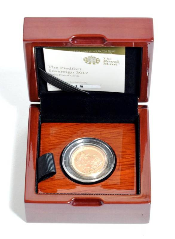 Lot 45 - Elizabeth II (1952-), proof piedfort Sovereign, 2017, 200th anniversary issue, 3,750 issued, in...