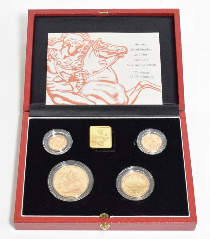 Lot 47 - Elizabeth II (1952-), gold proof sovereign collection, 1999, five pounds down to half sovereign...
