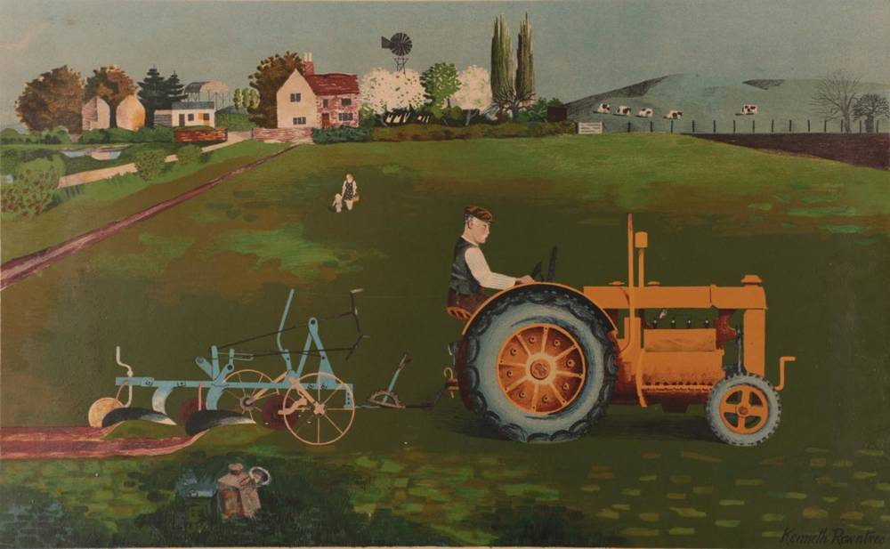 Lot 3 - Kenneth Rowntree (1915-1997) ''Tractor Landscape'' Lithograph, produced by School Prints Ltd.,...