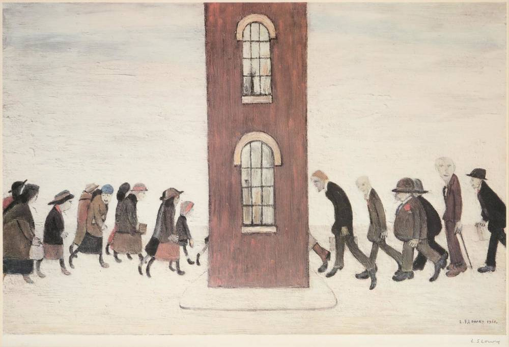 Lot 12 - After Laurence Stephen Lowry RBA, RA (1887-1976) ''The Meeting Point'' Signed, with the Fine...
