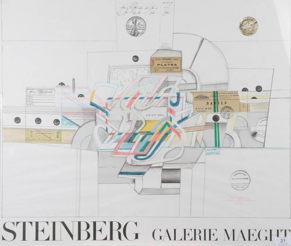 Lot 21 - Saul Steinberg (1914-1999) Romanian/American  ''Ticket'' With the golden blindstamp,...