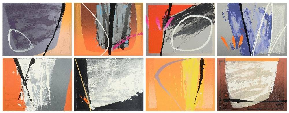 Lot 23 - Neil Canning (b.1960)  ''Catalan I-VIII'' A set of eight screenprints with woodblock from an...