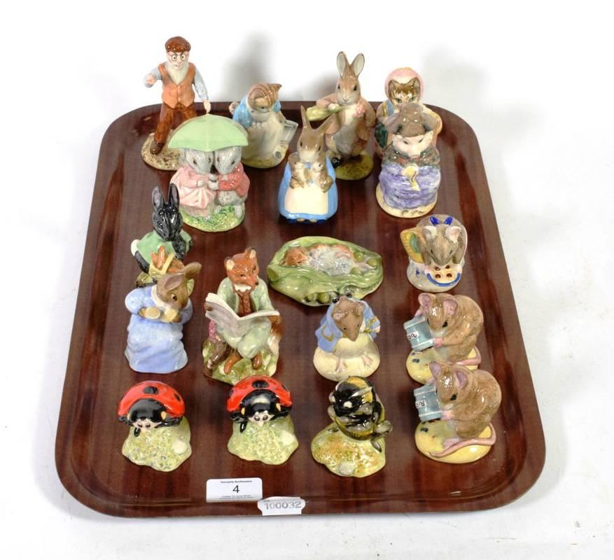 Lot 4 - A group of eighteen Royal Albert Beatrix Potter figures including Babbitty Bumble; Mother Ladybird