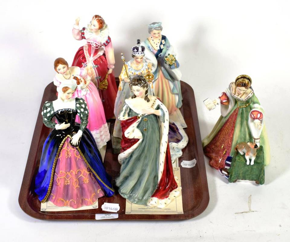 Lot 50 - Four Royal Doulton figures from the Queens of the Realm series: Queen Anne HN3141, Mary Queen...