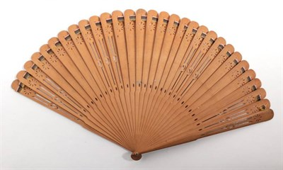 Lot 2011 - The Dauphin and Marie-Therese: A Late 18th Century Wooden Brisé Fan, carved and pierced, the...