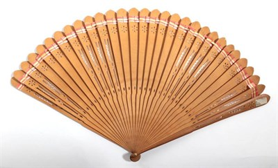 Lot 2013 - Circa 1790, A Pierced Wood Brisé Fan decorated with three engravings in shades of brown. The...