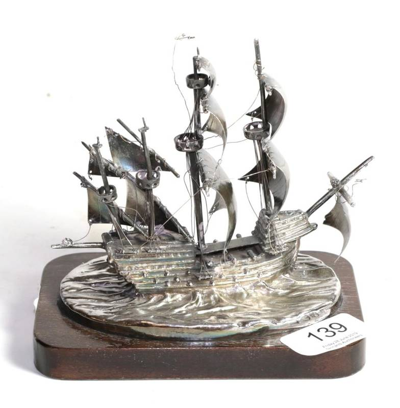 Lot 139 - A silver model of the Mary Rose