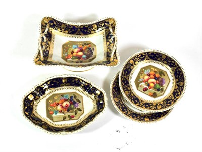Lot 530 - A Derby Porcelain Part Dessert Service, circa 1820, painted in the manner of Thomas Steele with...