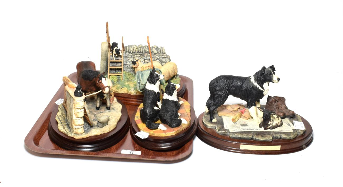 Lot 11 - Border Fine Arts models comprising: 'Element of Surprise (Collie and sheep)', model No. B0089;...