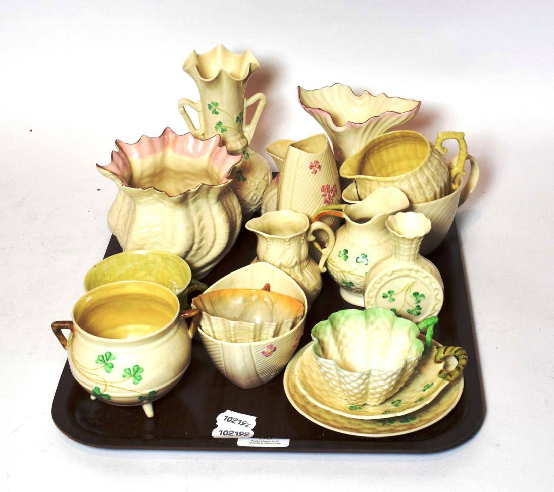 Lot 30 - A small collection of Belleek porcelain including vases, cups, saucers, jugs etc