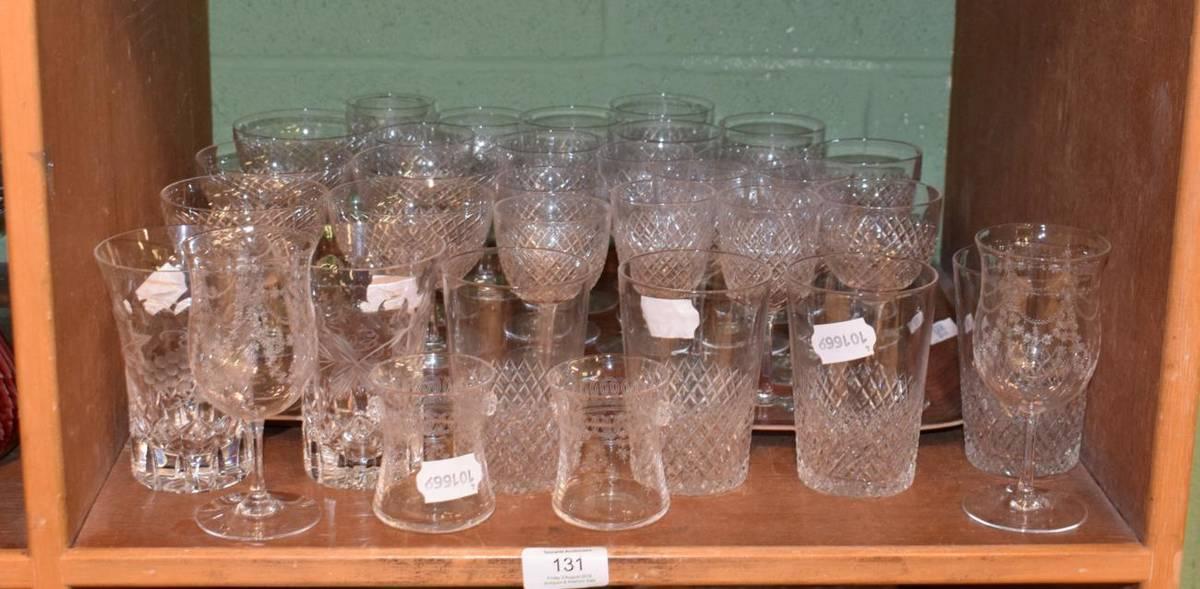 Lot 131 - Various Edwardian etched glasswares (qty)