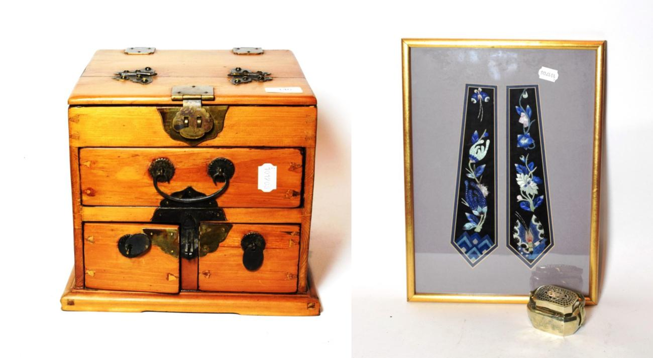 Lot 146 - A Chinese travelling vanity cabinet, with folding mirror; together with plated censer and...