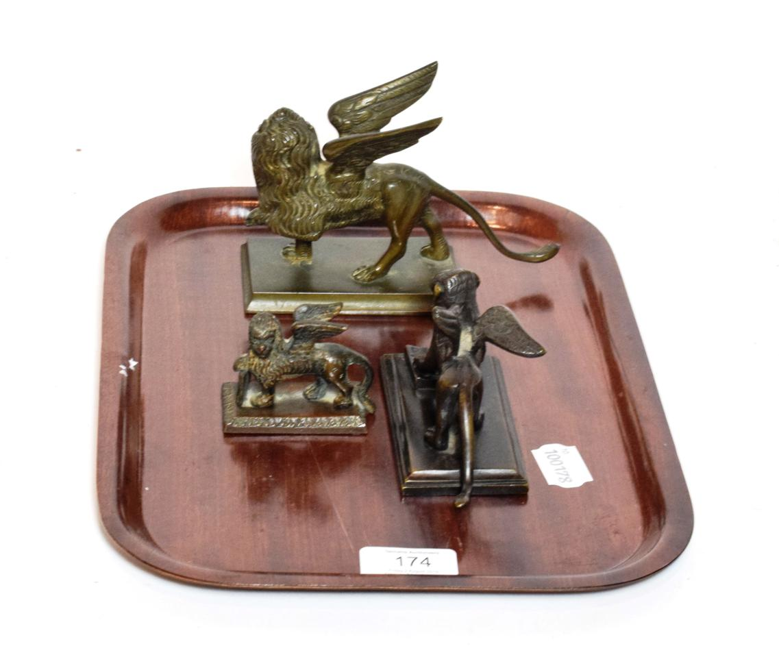 Lot 174 - Three bronze models of the lion of St Marks