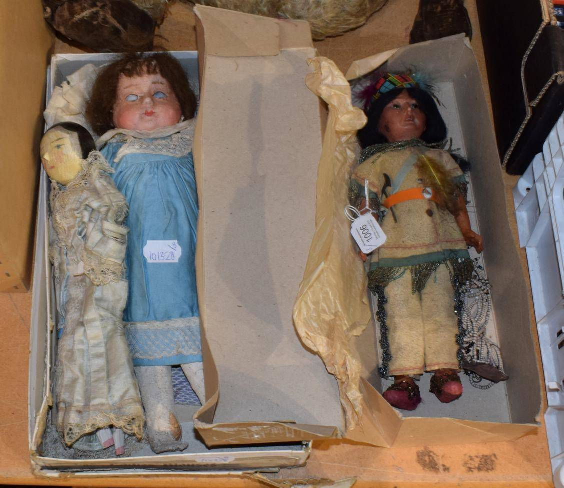 Lot 1006 - Armand Marseille bisque head socket doll, modelled as an Indian squaw, wax over doll with...