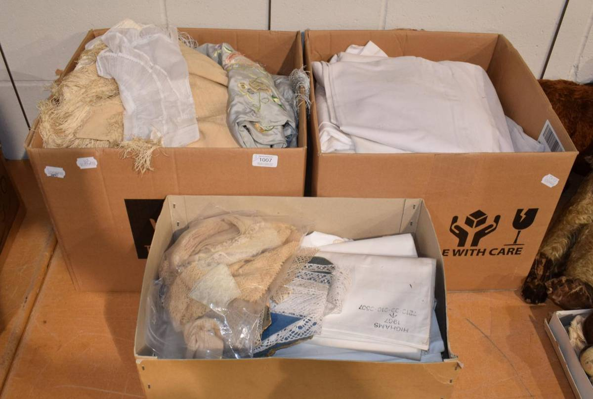 Lot 1007 - Assorted white linen and cotton sheets, embroidered linen, cream silk shawl, two Highams...