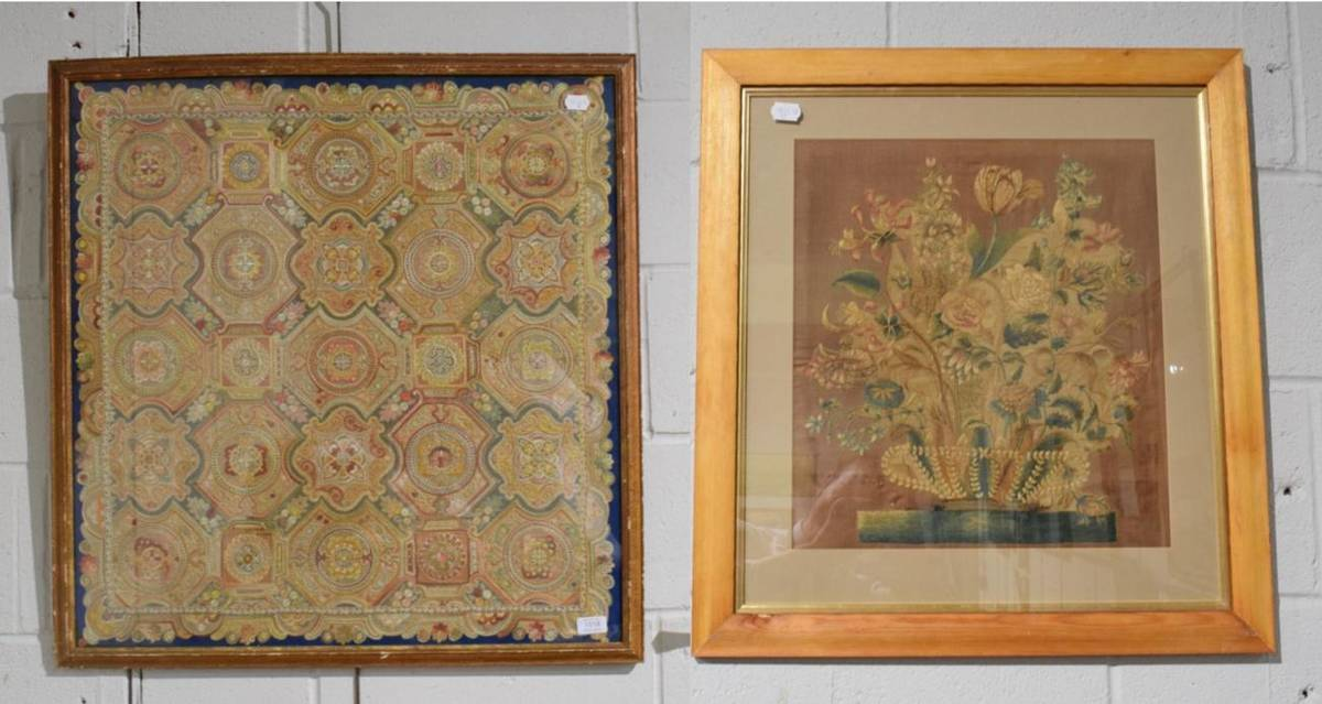 Lot 1018 - Large Indian style embroidery worked in a variety of coloured silks with interlinking repeating...