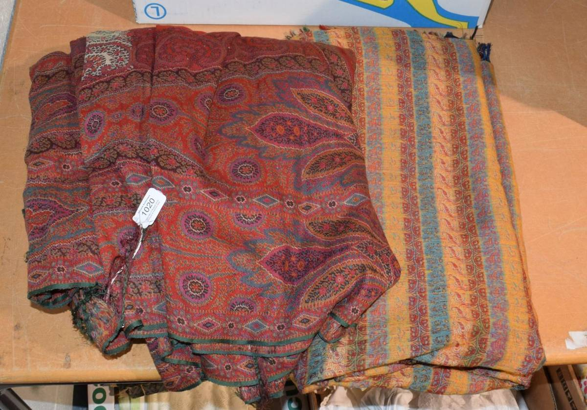 Lot 1020 - A 19th century woven paisley shawl and another smaller (2)