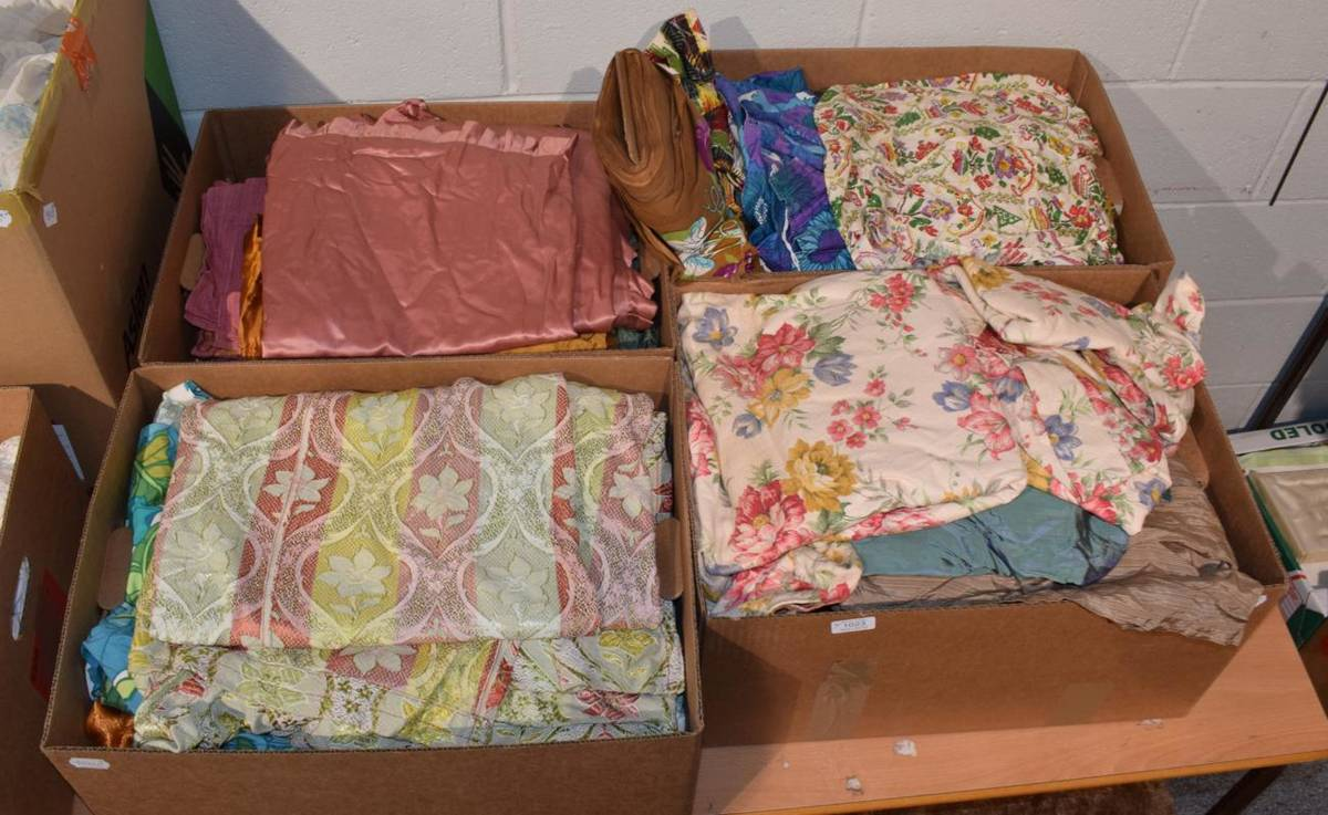 Lot 1023 - Circa 1930s and later fabrics, bed covers and curtains including nursery prints, bark cloths,...