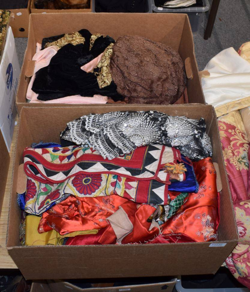 Lot 1030 - Assorted Chinese and eastern embroidered panels, cushion covers, costume etc (one box)