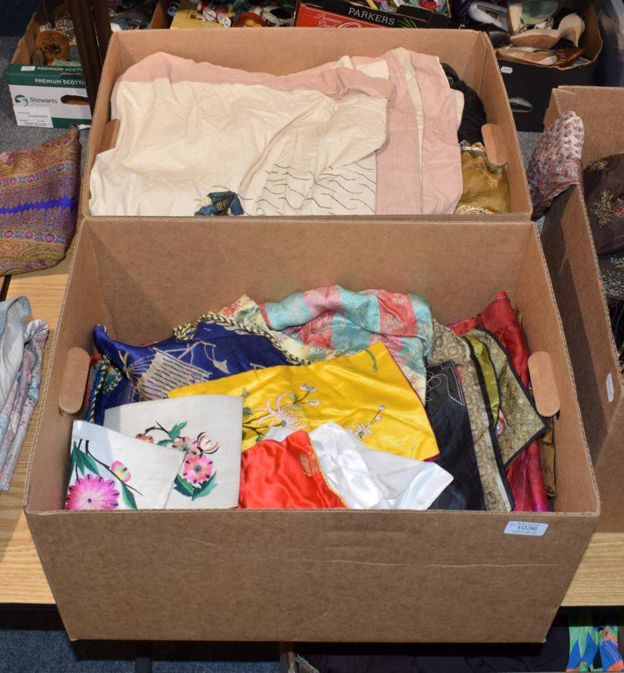 Lot 1036 - Assorted Chinese embroideries, modern Indian saris, decorative eastern textiles etc (two boxes)