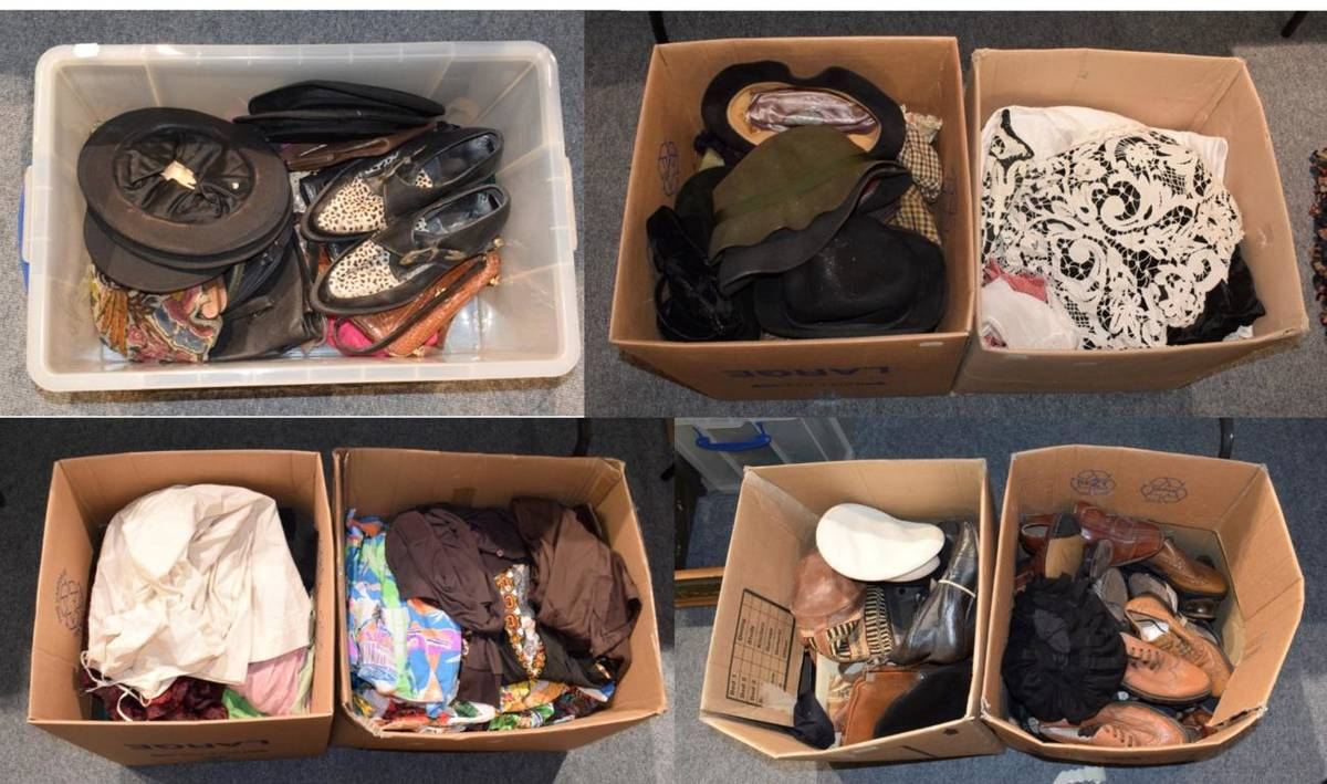 Lot 1042 - Quantity of assorted ladies and gents shoes, hats including opera hats (a.f.), bags, theatrical...