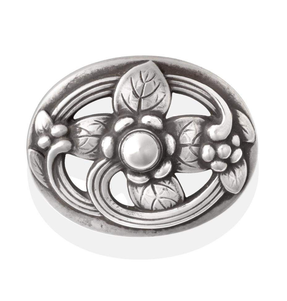 Lot 2021 - A Silver Brooch, by Georg Jensen, stylised foliage within an oval frame, numbered 138, measures...