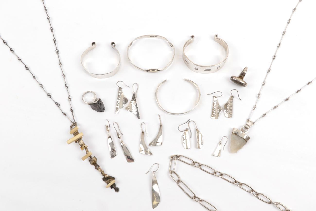 Lot 2024 - A Small Collection of Jewellery, by Vincent James Ashworth, comprising a flint necklace, a...