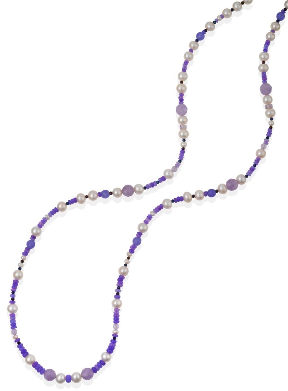 Lot 2046 - A Purple Opal, Amethyst, Lapis Lazuli and Cultured Pearl Necklace, purple opal, amethyst and...