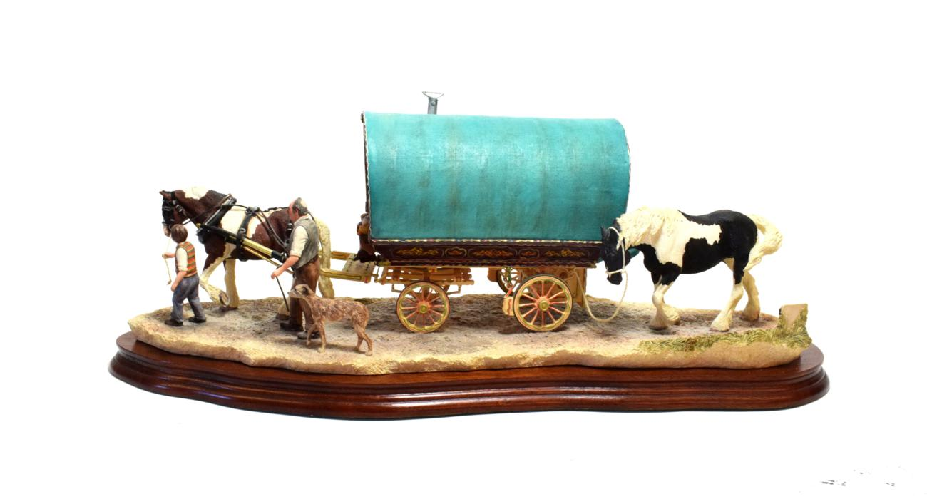 Lot 8 - Border Fine Arts 'Arriving at Appleby Fair (Bow Top Wagon and Family)', model No. B0402, signed...