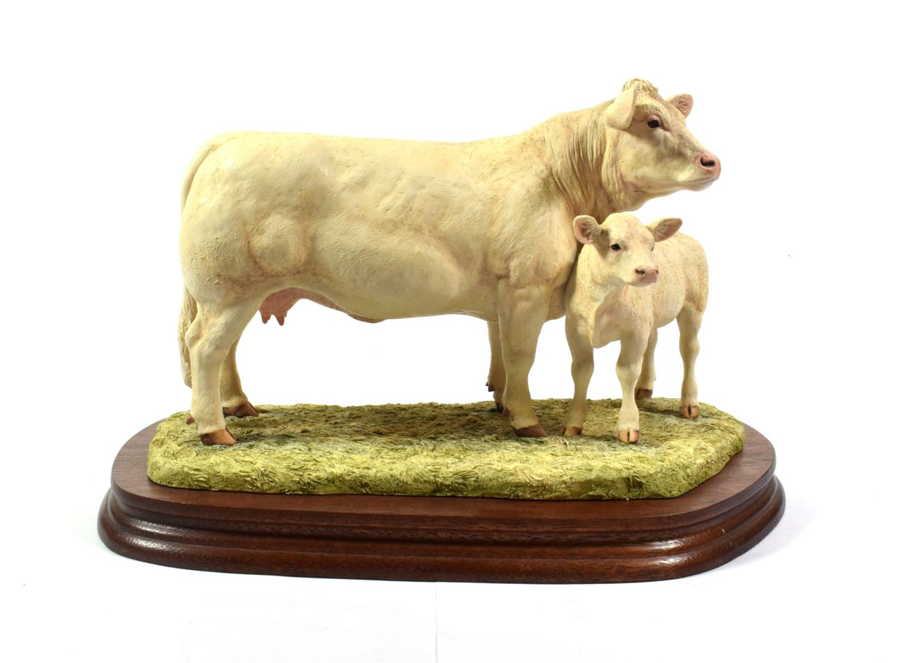 Lot 21 - Border Fine Arts 'Charolais Cow and Calf' (Style One), moel No. L137 by Ray Ayres, limited...
