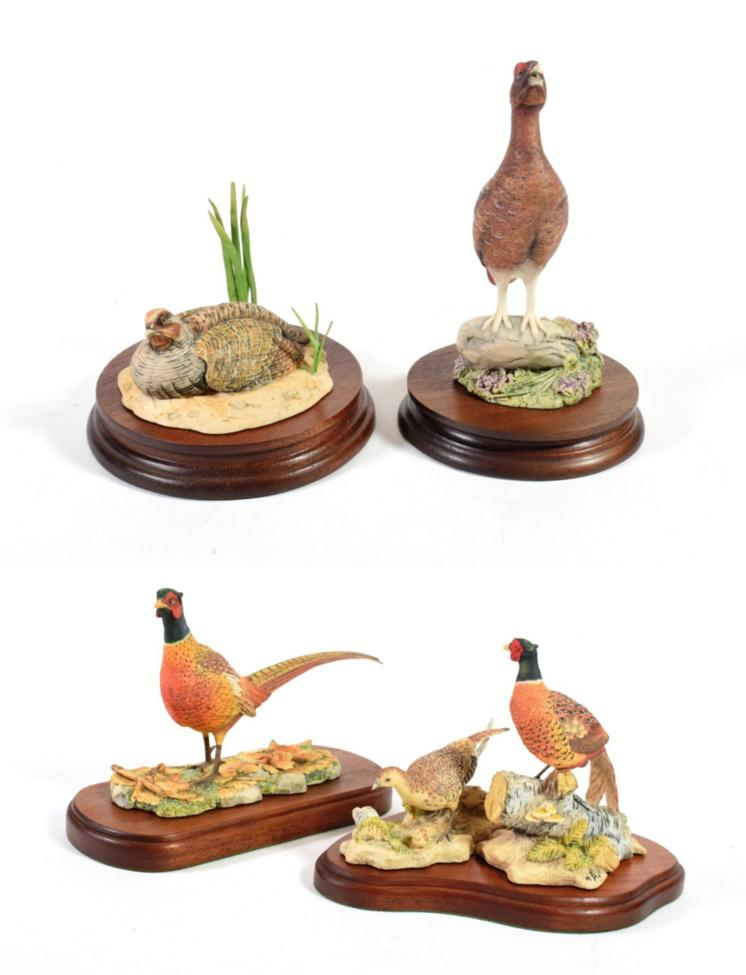 Lot 23 - Border Fine Arts 'Cock and Hen Pheasants and Chicks', model No. RB23 by Ray Ayres, on wood...