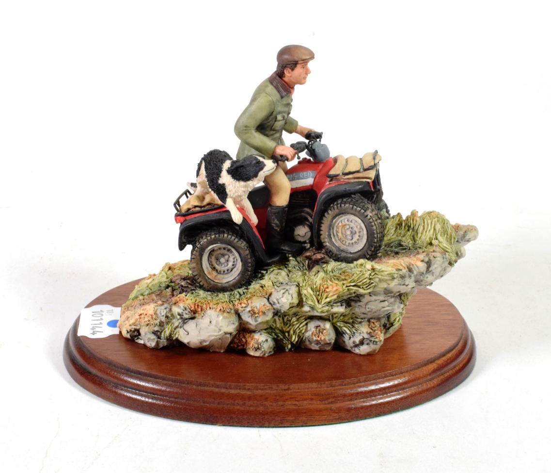 Lot 30 - Border Fine Arts 'Easy Riders' (Man, dog and vehicle), model No. 153 by David Walton, on wood base