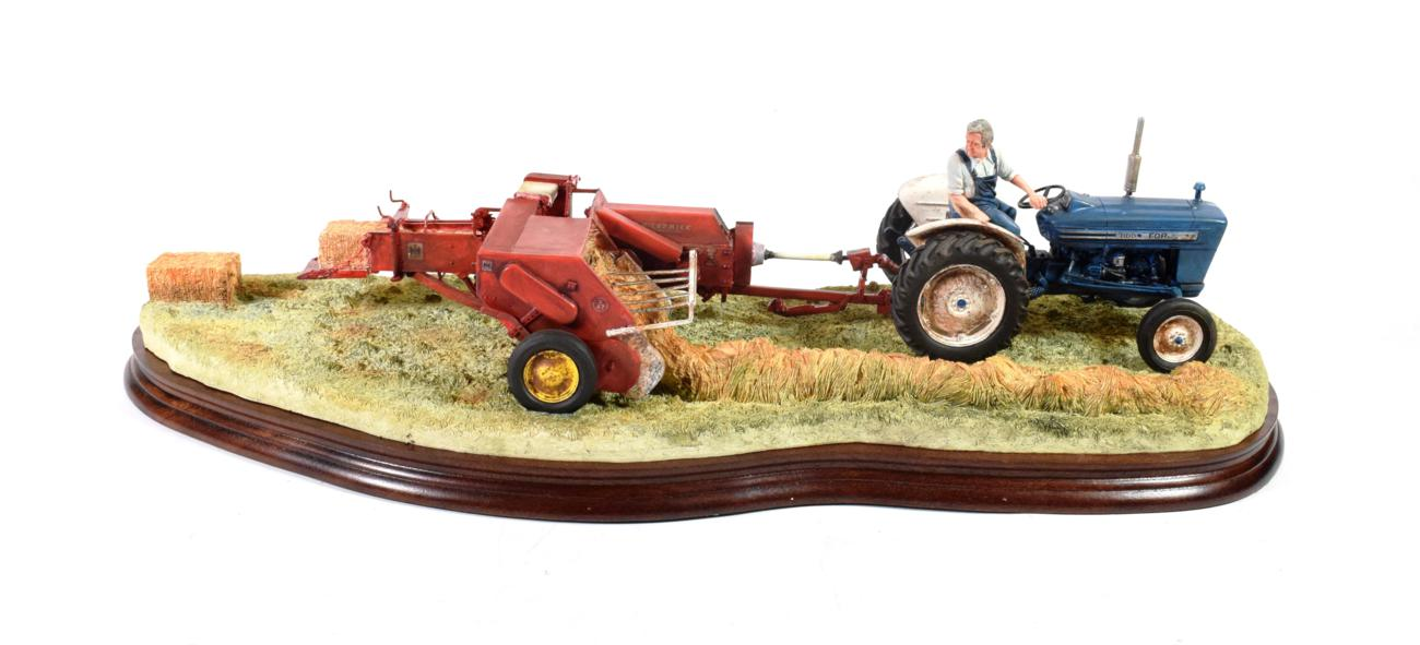 Lot 41 - Border Fine Arts 'Hay Baling', model No. B0738, limited edition 1098/2002, on wood base, with...