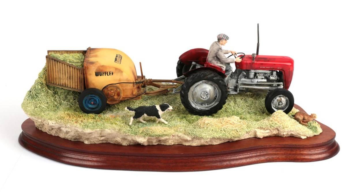 Lot 42 - Border Fine Arts 'Hay Turning' (Massey Ferguson Tractor and Wuffler) model No. JH110 by Ray...