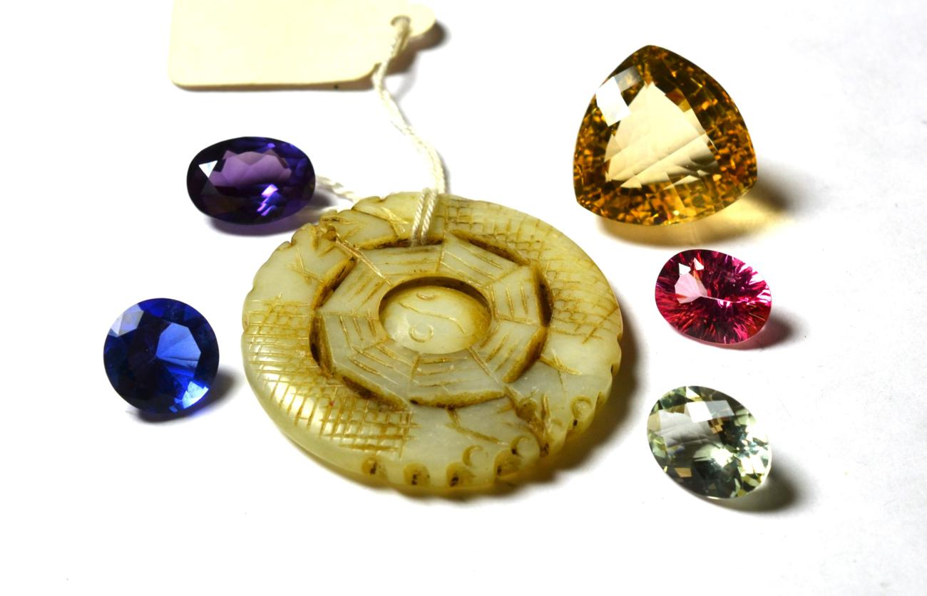Lot 200 - Five loose stones comprising of pink topaz, green quartz, blue glass, purple synthetic...