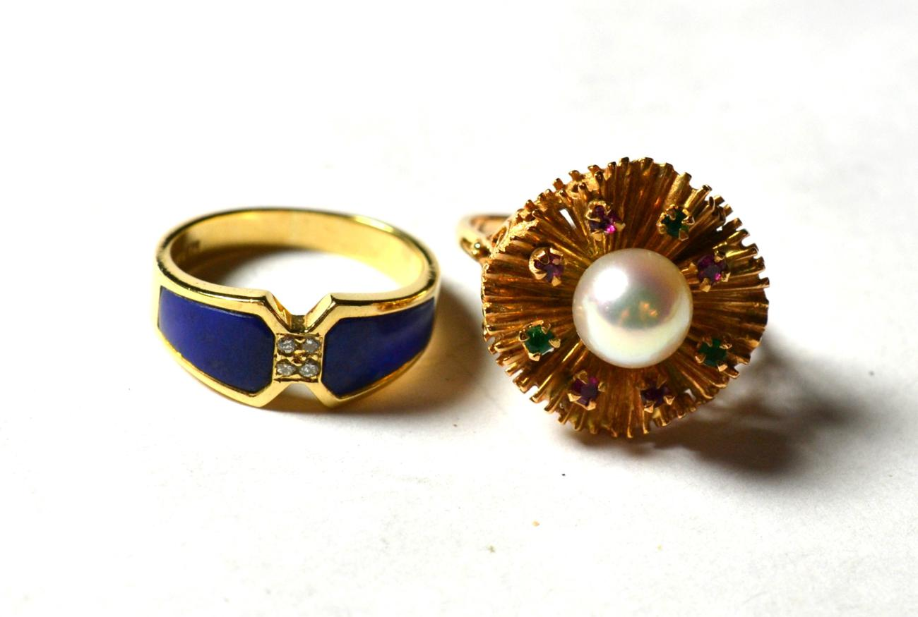 Lot 212 - A lapis lazuli and diamond ring, stamped '14K' '585', finger size J; and a cultured pearl, ruby and