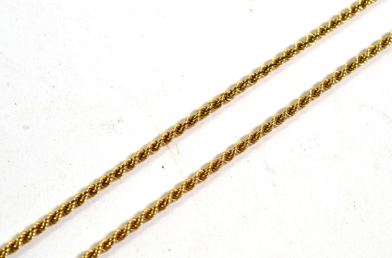 Lot 360 - A 9 carat gold rope twist necklace, length 60.5cm