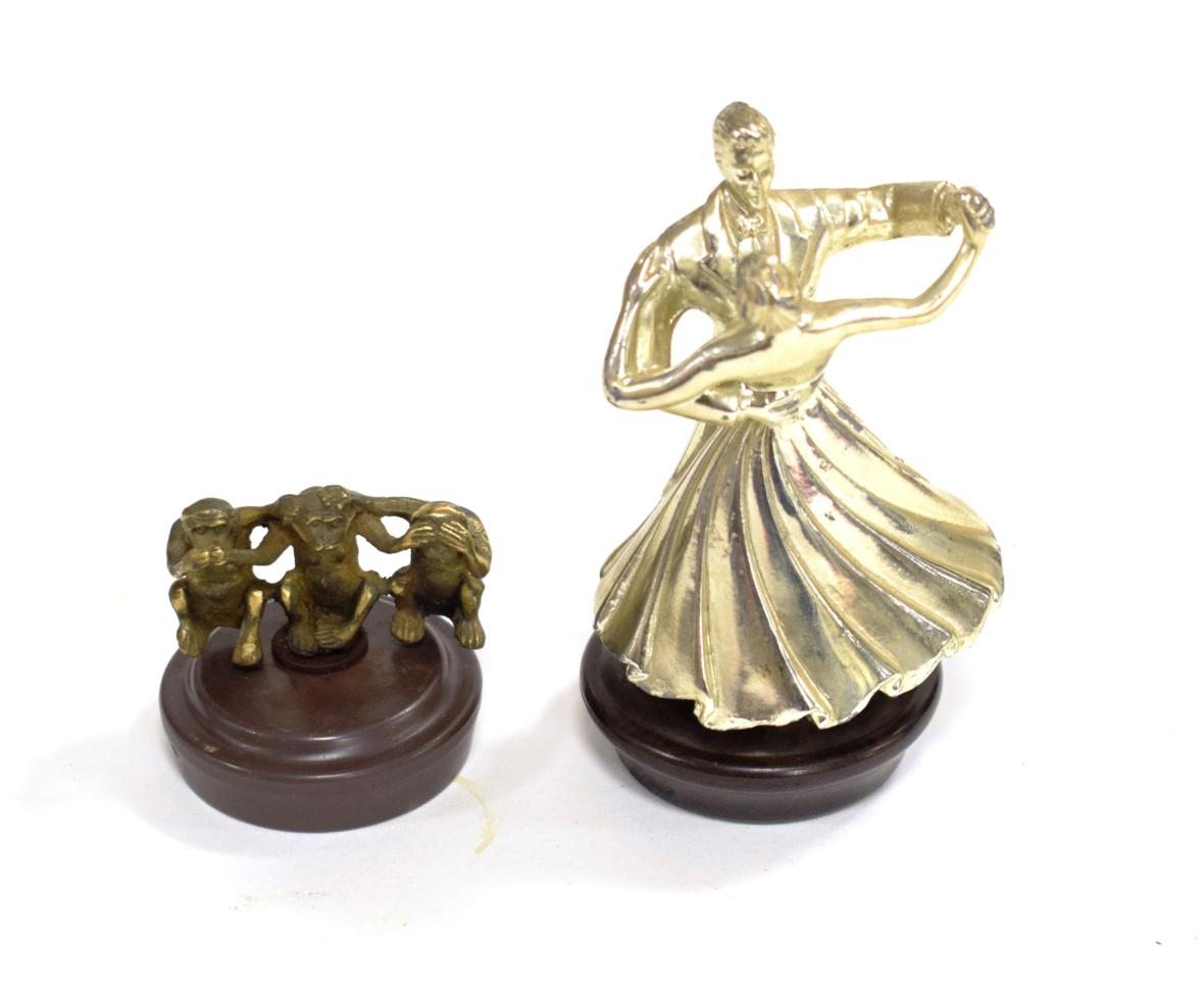 Lot 3019 - A Brass Accessory Car Mascot, in the form of three wise monkey, as sold by Brown Brothers of Acton
