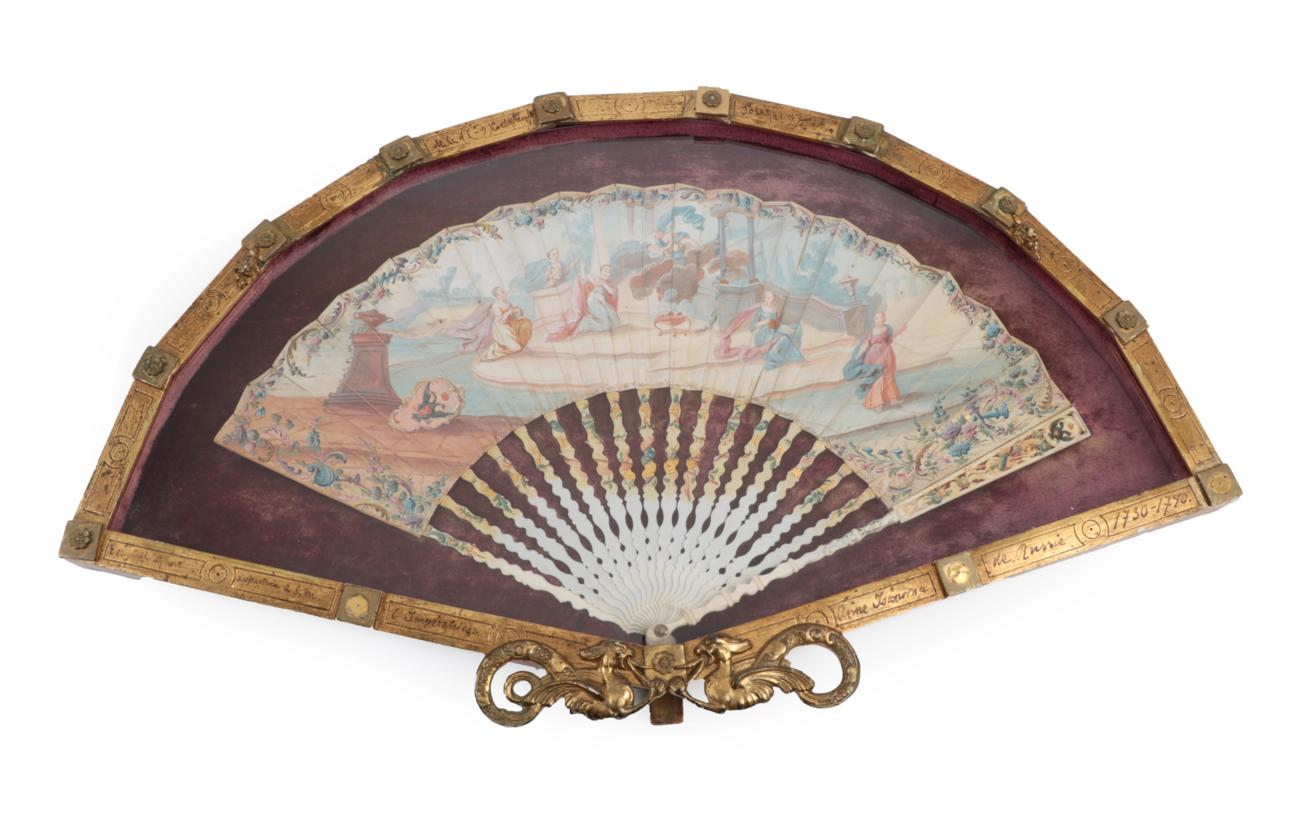 Lot 2031 - A Russian Royal Birth: An 18th Century Bone Fan, the monture quite slender and lightly painted, the