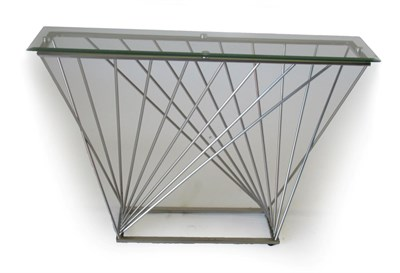 Lot 1002 - A Late 20th Century Chromed Metal and Tubular Side Table, with bevelled glass top of...