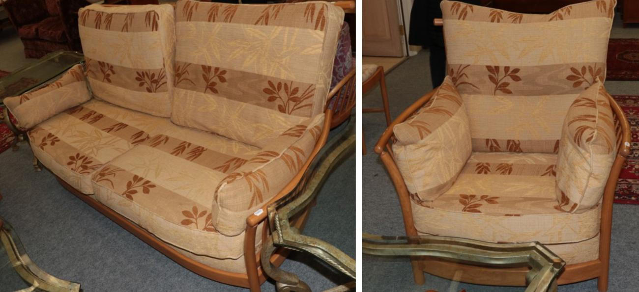 Lot 1018 - An Ercol Ash Framed Two-Seater Settee and Matching Armchair, circa April 2005, design no.2068,...
