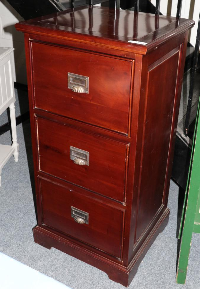 Lot 1021 - A Reproduction Hardwood Three Drawer Filing Cabinet, 54cm by 50cm by 112cm