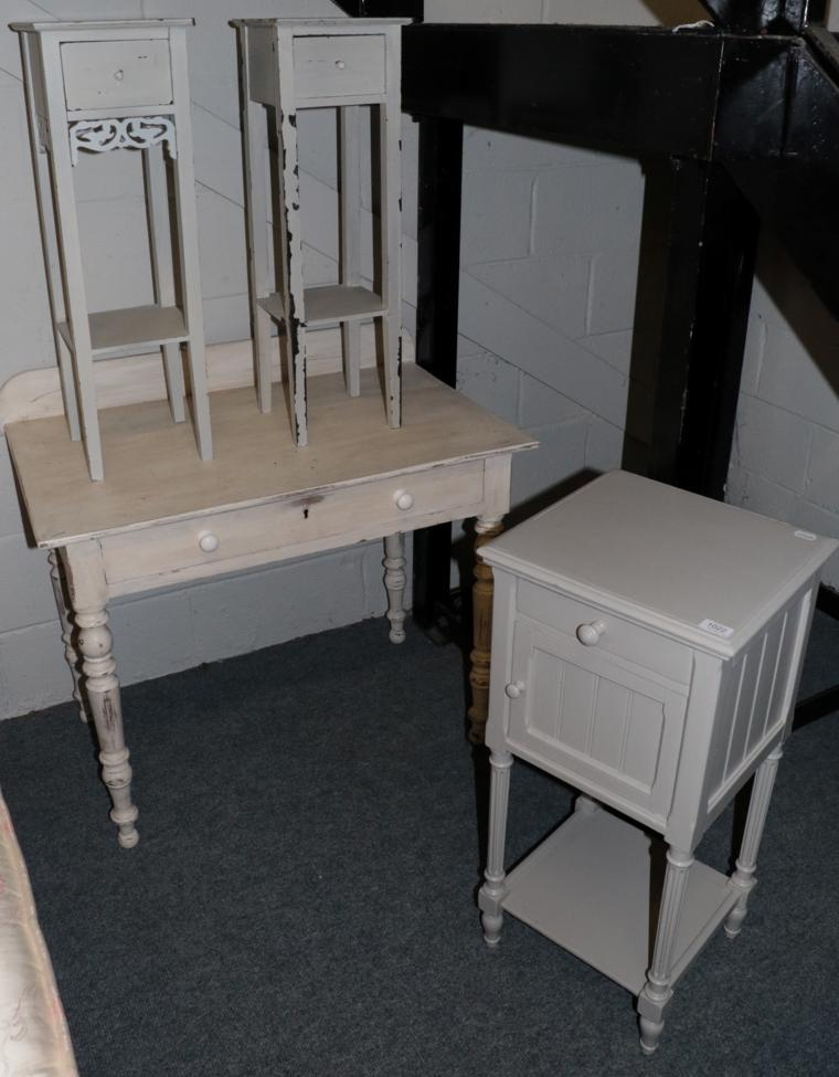 Lot 1022 - A Painted Pine Side Table, fitted a frieze drawer, on turned legs, 91cm wide; A Pair of Painted...