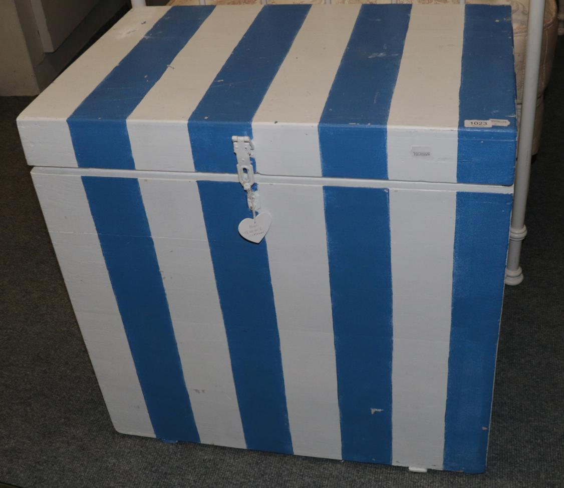 Lot 1023 - A Painted Pine Hinged Trunk, the interior paper lined, 78cm by 52cm by 78cm