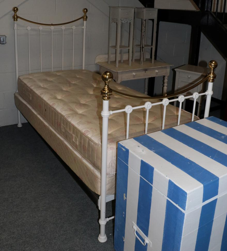 Lot 1024 - A Victorian Style Brass and White Painted Metal Bedstead; together with a 3ft mattress