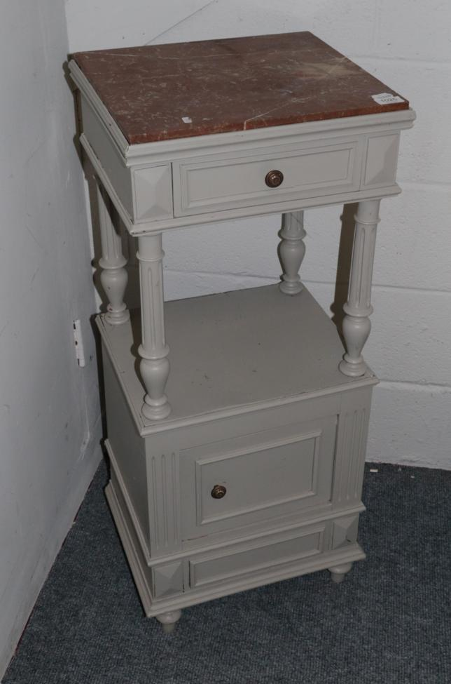 Lot 1025 - A French Painted Bedside Table, with pink marble top, 40cm by 36cm by 95cm
