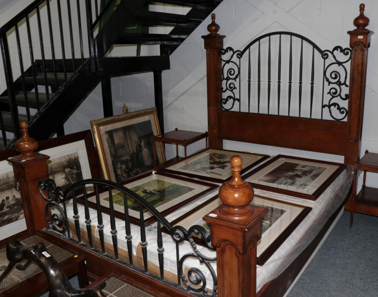 Lot 1039 - The Stanley Furniture Company: A Walnut Effect and Black Wrought Iron Four-Poster Bed, modern,...